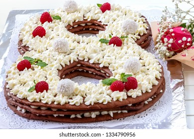 Big Number Cake Shape Of 8 Decorated White Creamcheese Raspberry And Coconut Candy Happy