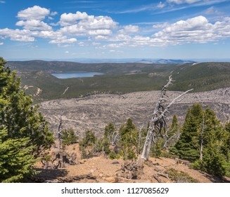 Big Obsidian Flow, the result of a lava flow 1300 years ago in the Newberry Volcano Caldera, Newberry National Volcanic Monument, near Bend, Oregon, photographed from Paulina Peak on the caldera rim.