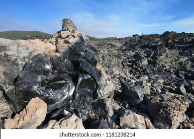 Big Obsidian Flow Trail, Newberry National Volcanic Monumet near Bend, Oregon