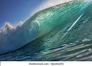 Big Ocean Surfing Wave. Tropical High swell shorebreak. Marine Sport Design Seaview Image