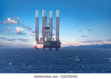 Big offshore oil rig drilling platform