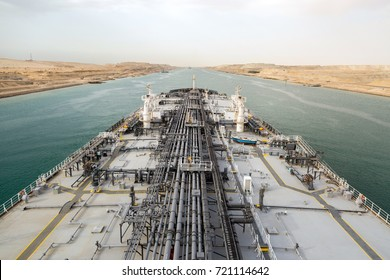 Big oil product tanker is proceeding through Suez Canal.
