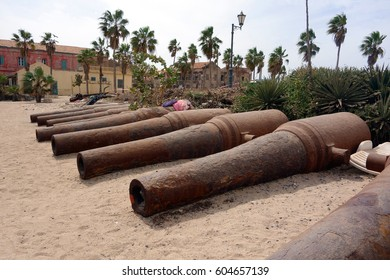 Big old broken canon at the top of Ile de Goree island, Dakar, Senegal