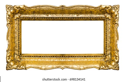 Big and old gold picture frame, isolated on white
