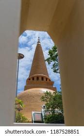 Big Old Pagoda Wat Phra Pathom Chedi Buddhist Temple in near Bangkok, Thailand