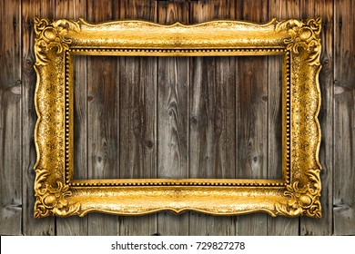 Big Old Picture Frame on wooden background