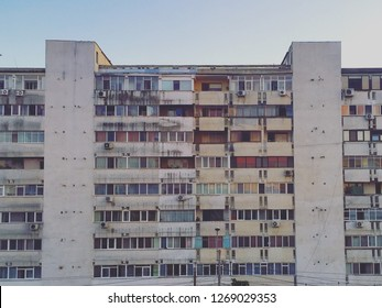 Big old sovietic architecture of apartaments in east Europe. Typical romanian block built in socialist period.