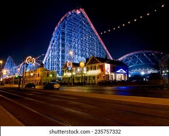 The Big One roller coaster ride illuminated for the Blackpool illuminations 2014, Blackpool, Lancashire, UK