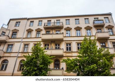 big and orange apartment house at friedrichshain