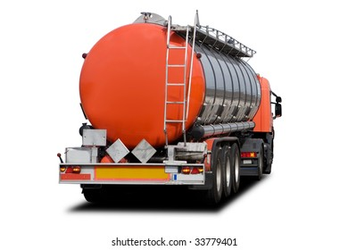 A Big Orange Fuel Tanker Truck Isolated on White