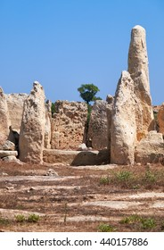 The big orthostats forming entrance to the oldest part of megalithic temple of Hagar Qim, the Northen temple, Malta