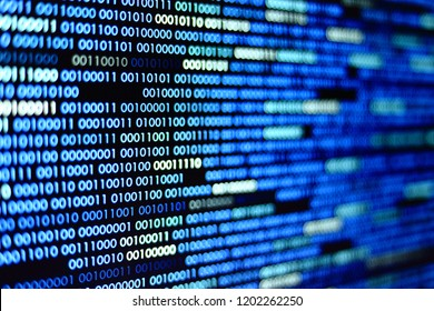Big overload blockchain data. Blue binary data code background for internet and cyberspace security function. one and zero text on LED moniter screen.