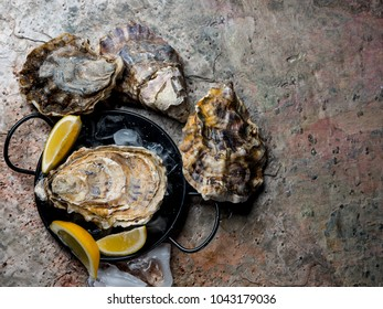 Big oysters served on plate with ice and lemon. Stone table background. Gourmet food. Flat top view, from above.