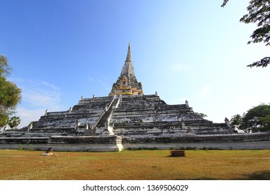 The Big Pagoda at Wat Phu Khao Thong in Ayutthaya, Thailand on blue sky background (public area)