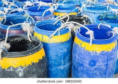 Big painted  plastic barrels