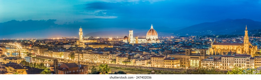 Big panorama of Florence at night in Italy