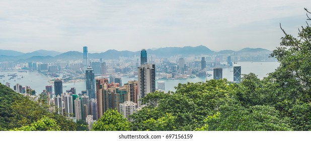 Big panorama of Hong Kong skyline. View from Victoria Peak.