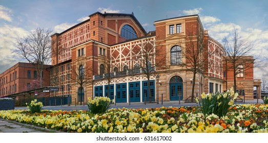 Big panorama of the Wagner Festival Theatre in Bayreuth, germany. Theatre of the famous german composer Richard Wagner.