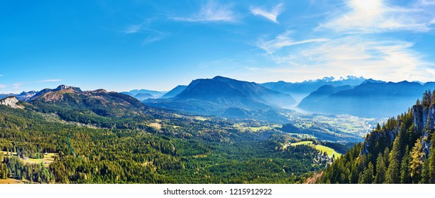 A Big panoramic photo of the Austrian alps. Salzkammergut region. View from Predigtstuhl.