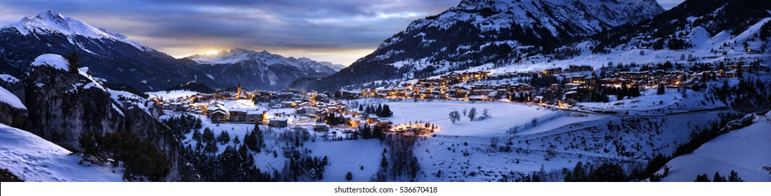 Big panoramic View of Aussois su Arc village by night, France
