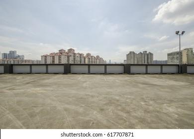 Big parking area in rooftop
