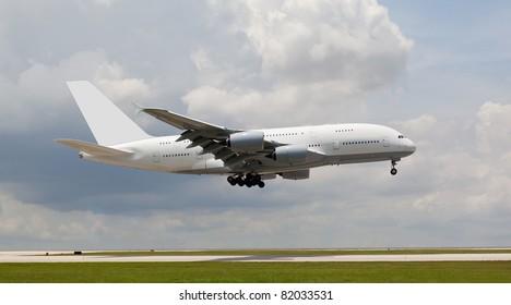 Big passenger jet landing
