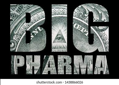 Big Pharma, Money on Black Background