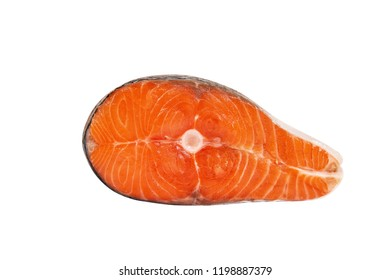 Big piece of red fish on white background. Piece of salmon. Isolated on white