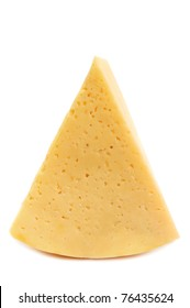 Big piece of yellow cheese on white background