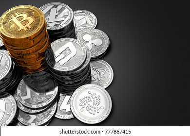 Big pile of Bitcoin and smaller piles of different cryptocurrencies on dark background. 3D rendering