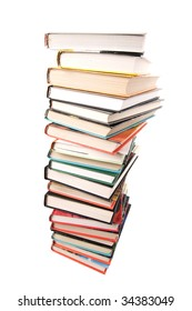 big pile of books isolated
