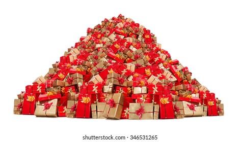 Big Pile Of Christmas Gifts Isolated On White Background Mountain Xmas Boxes Many