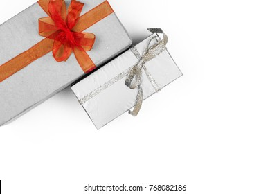 Big pile of colorful wrapped gift boxes isolated on white background. Mountain gifts.