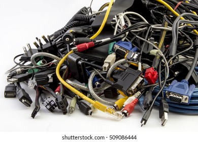 Big pile of computer cables - mess