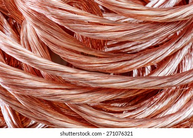 Big pile of copper wire close-up