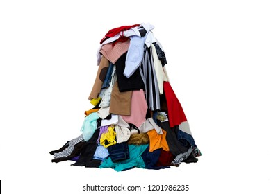 Big pile of different colored cloth isolated.