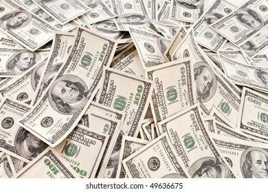big pile of dollars usa. money concept