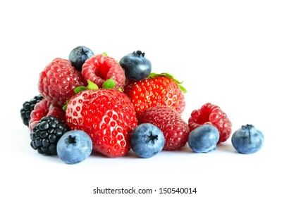 Big Pile of Fresh Berries on the White Background