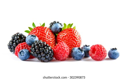Big Pile of Fresh Berries on the White Background. Ripe Sweet Strawberry, Raspberry, Blueberry, Blackberry - Shutterstock ID 302390873
