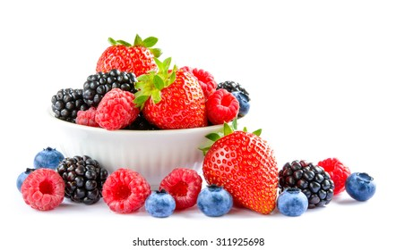 Big Pile of Fresh Berries in the White Bowl on the White Background