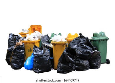 Big pile of garbage and waiste in black bags on white background