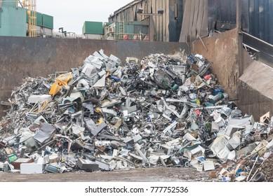 Big pile of metal garbage in the city