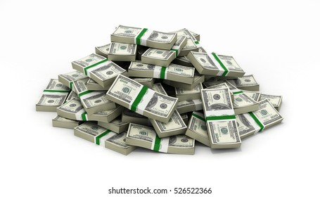 big pile of money american dollar bills on white background 3d