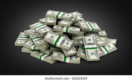 big pile of money american dollar bills on black gradient background 3d
