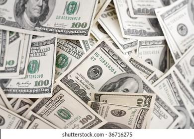 big pile of money. american dollars background