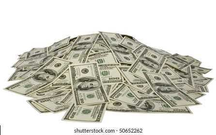 big pile of money. dollars over white background