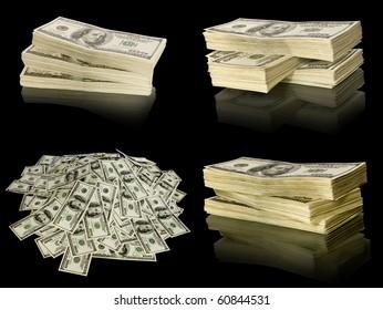 big pile of money. stack of american dollars