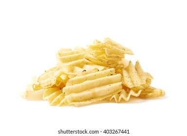 Big pile of potato chips crisps isolated over the white background