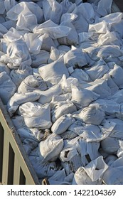 Big Pile of Sandbags for Floods Disaster Protection