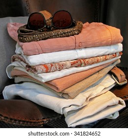 Big Pile of Summer Style Linen Clothing